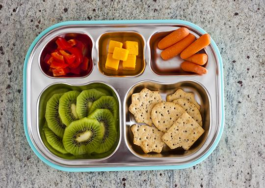 BPA free compartment plate made by Kangovou in the color Frosted Blueberry
