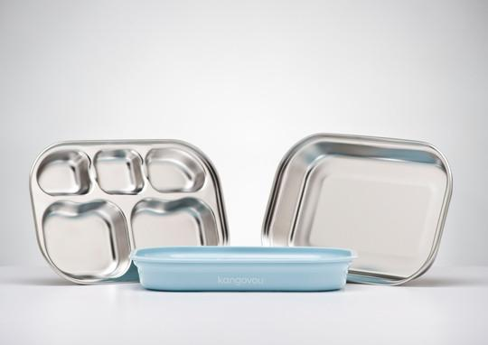Kangovou kids dishware set in Frosted Blueberry