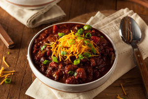 a bowl of chili which is considered a healthier fast food option