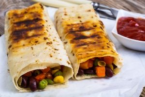 veggie and black bean burrito which would fit well into a bento lunch box