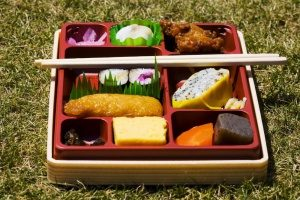 bento lunch box sresting on grass for a picnic and containing plenty of different Asian foods