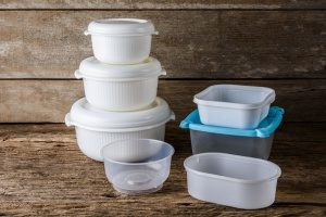 Many Tupperware containers, made of plastic, that can be hazardous for storing food instead of using the eco-friendly bento lunch boxes from Kangovou