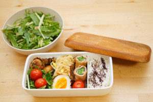 Healthy food in an insulated bento lunch box