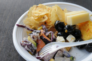 food in an open plastic container made with melamine