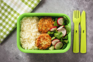 eco-friendly bento lunch box filled with food