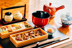 a clean bento box allows assortment of different food