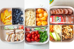 three healthy bento box lunches with healthy food options for kids and adults