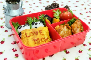 a bento lunch box with food made with love by a mom