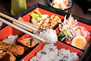 a Japanese bento box that is used for a top sushi recipe